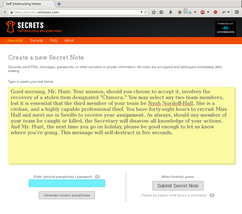 Screenshot showing secrets.xmission.com with some text.