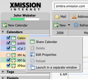 Launch the HTML view of your Calendar in a separate window.
