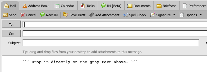 Example of the Zimbra DnD text found in your Compose window.