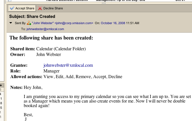 "Example of the Zimbra ""Share Created"" email."