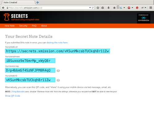 Screenshot showing the passphrase key and the duress key, as well as the note URL and ID.