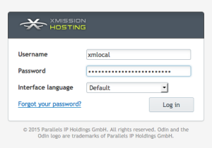 XMission Unlimited Hosting Login Screen